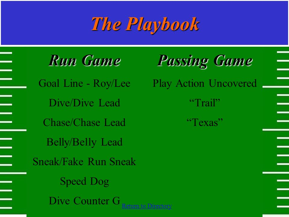 Return to Directory The Playbook Run Game Goal Line - Roy/Lee Dive/Dive Lead Chase/Chase Lead Belly/Belly Lead Sneak/Fake Run Sneak Speed Dog Dive Cou