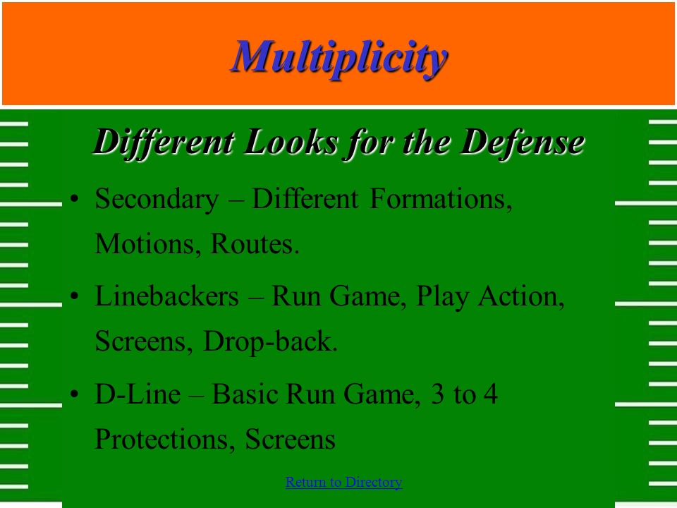 Return to DirectoryMultiplicity Different Looks for the Defense Secondary – Different Formations, Motions, Routes. Linebackers – Run Game, Play Action
