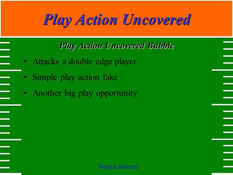 Return to Directory Play Action Uncovered Play Action Uncovered Bubble Attacks a double edge player Simple play action fake Another big play opportuni