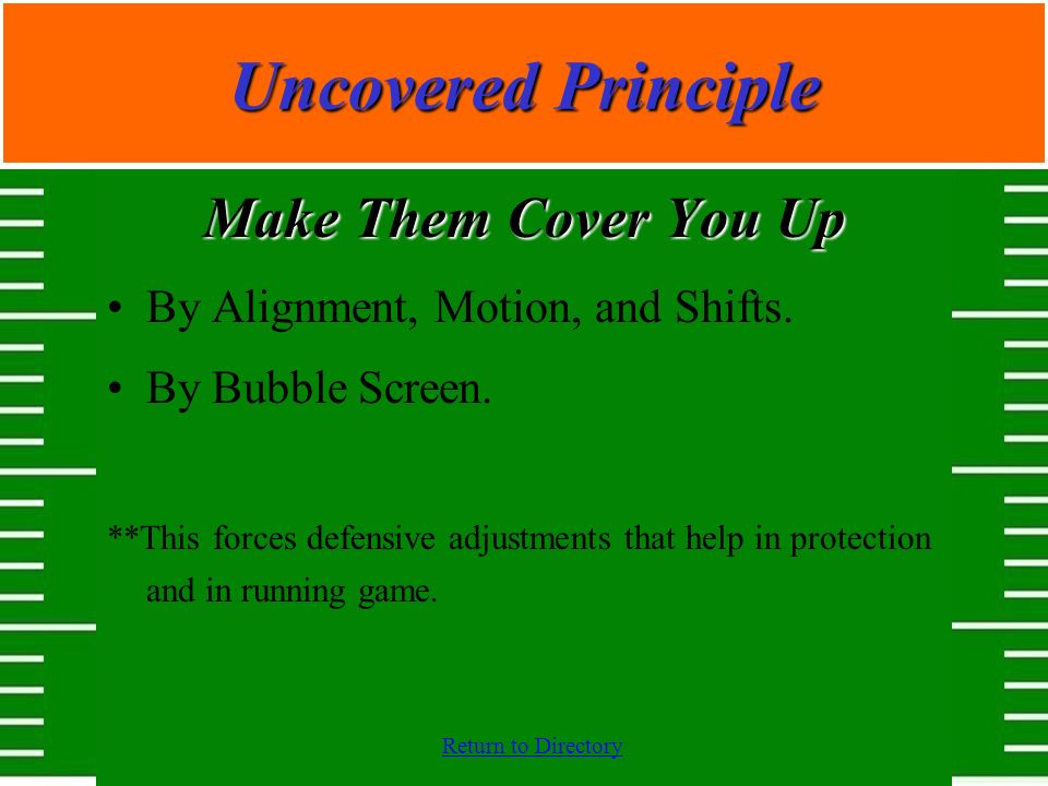 Return to Directory Make Them Cover You Up By Alignment, Motion, and Shifts. By Bubble Screen. **This forces defensive adjustments that help in protec