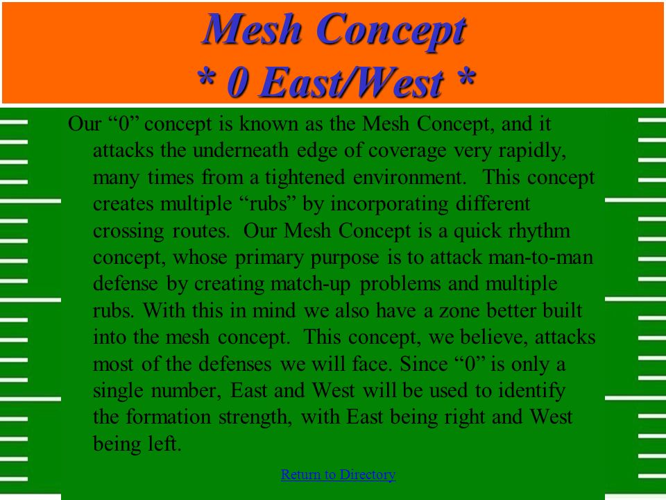 Return to Directory Mesh Concept * 0 East/West * Our 0 concept is known as the Mesh Concept, and it attacks the underneath edge of coverage very rapid