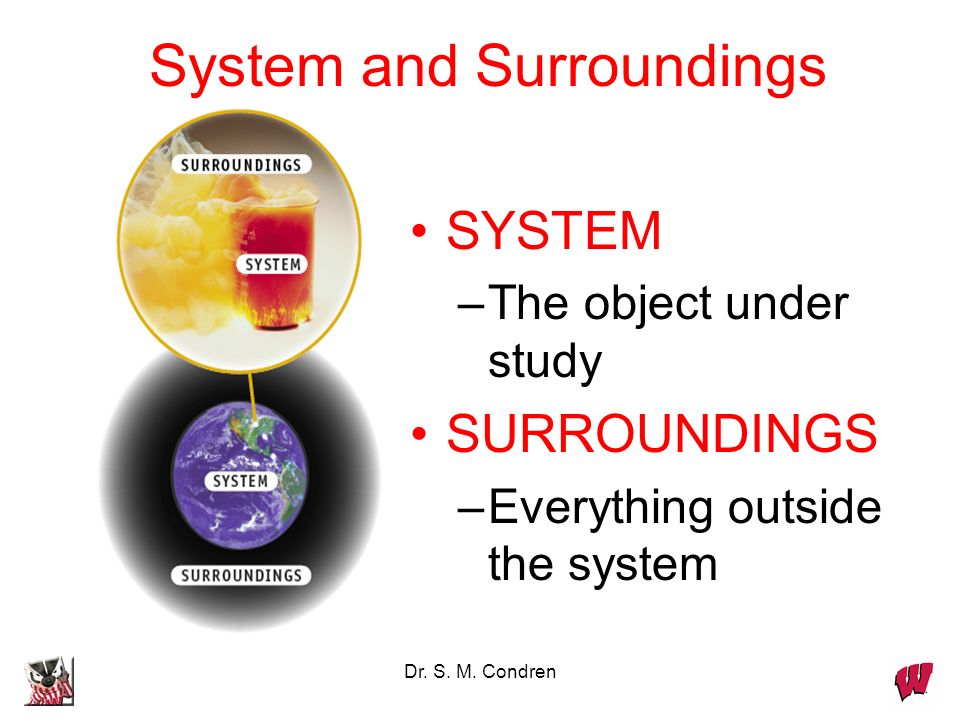 Dr. S. M. Condren System and Surroundings SYSTEM –The object under study SURROUNDINGS –Everything outside the system