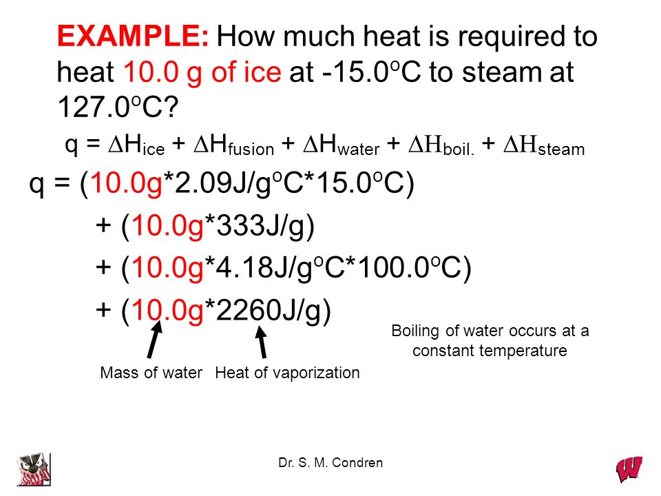 Dr. S. M. Condren EXAMPLE: How much heat is required to heat 10.0 g of ice at -15.0 o C to steam at 127.0 o C? q = H ice + H fusion + H water + boil.