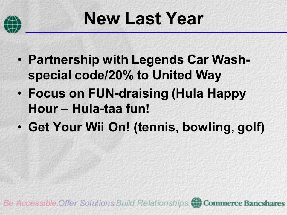 New Last Year Partnership with Legends Car Wash- special code/20% to United Way Focus on FUN-draising (Hula Happy Hour – Hula-taa fun.