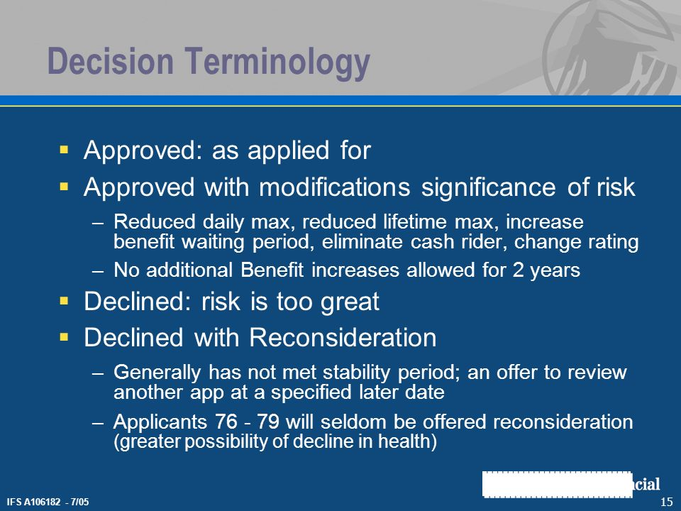 IFS A106182 - 7/05 15 Decision Terminology Approved: as applied for Approved with modifications significance of risk –Reduced daily max, reduced lifet