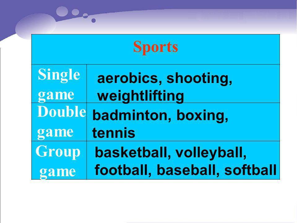 Sports Single game Double game Group game aerobics, shooting, weightlifting badminton, boxing, tennis basketball, volleyball, football, baseball, soft