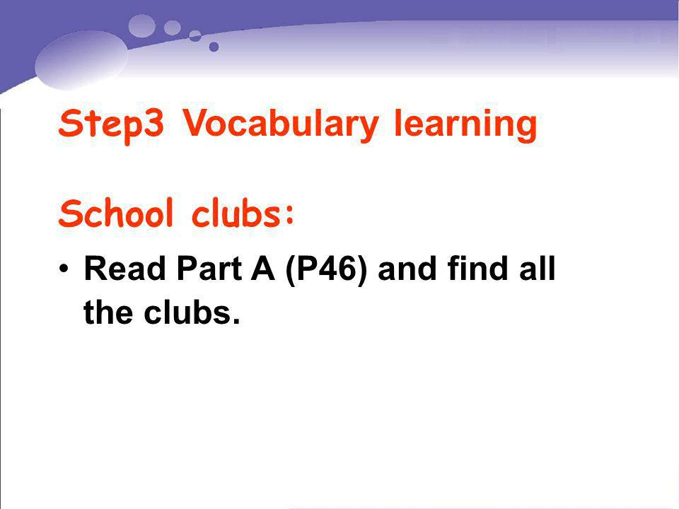 Read Part A (P46) and find all the clubs. Step3 Vocabulary learning School clubs: