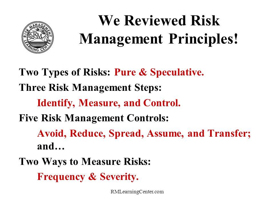 RMLearningCenter.com We Reviewed Risk Management Principles.