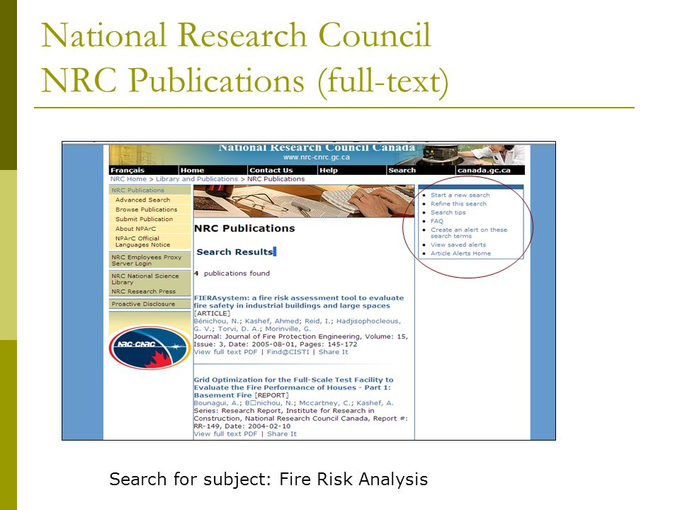 National Research Council NRC Publications (full-text) Search for subject: Fire Risk Analysis