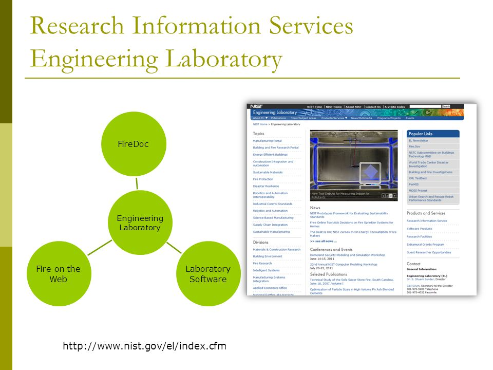 Research Information Services Engineering Laboratory http://www.nist.gov/el/index.cfm Engineering Laboratory FireDoc Laboratory Software Fire on the Web