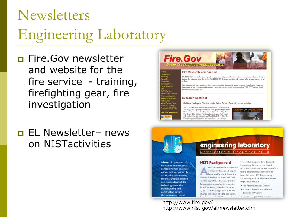 Newsletters Engineering Laboratory Fire.Gov newsletter and website for the fire service - training, firefighting gear, fire investigation EL Newslette