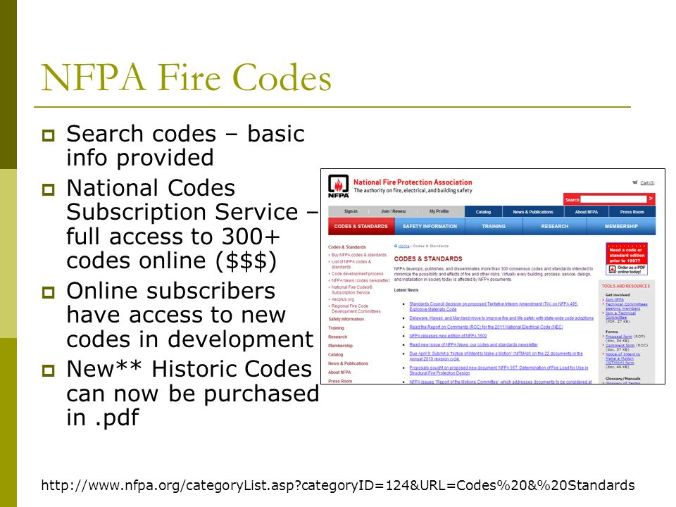 NFPA Fire Codes http://www.nfpa.org/categoryList.asp?categoryID=124&URL=Codes%20&%20Standards Search codes – basic info provided National Codes Subscription Service – full access to 300+ codes online ($$$) Online subscribers have access to new codes in development New** Historic Codes can now be purchased in.pdf