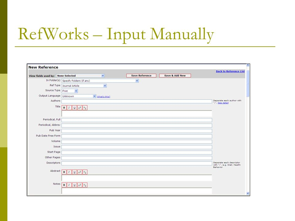 RefWorks – Input Manually