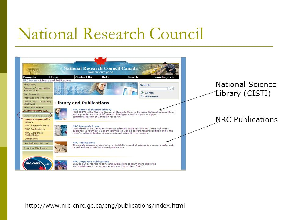 National Research Council National Science Library (CISTI) NRC Publications http://www.nrc-cnrc.gc.ca/eng/publications/index.html