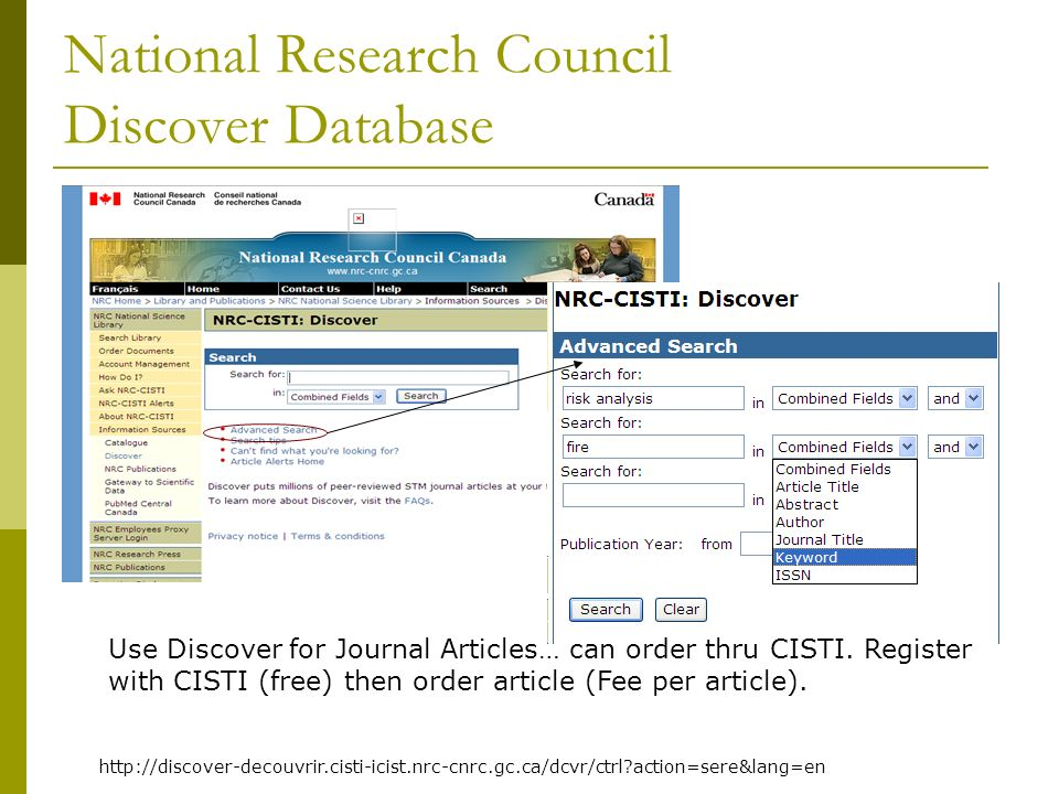 National Research Council Discover Database Use Discover for Journal Articles… can order thru CISTI. Register with CISTI (free) then order article (Fe