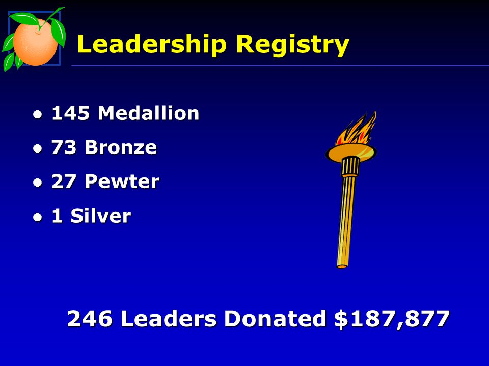 Leadership Registry l 145 Medallion l 73 Bronze l 27 Pewter l 1 Silver 246 Leaders Donated $187,877
