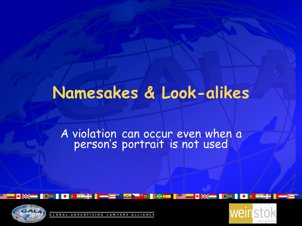 Namesakes & Look-alikes A violation can occur even when a persons portrait is not used