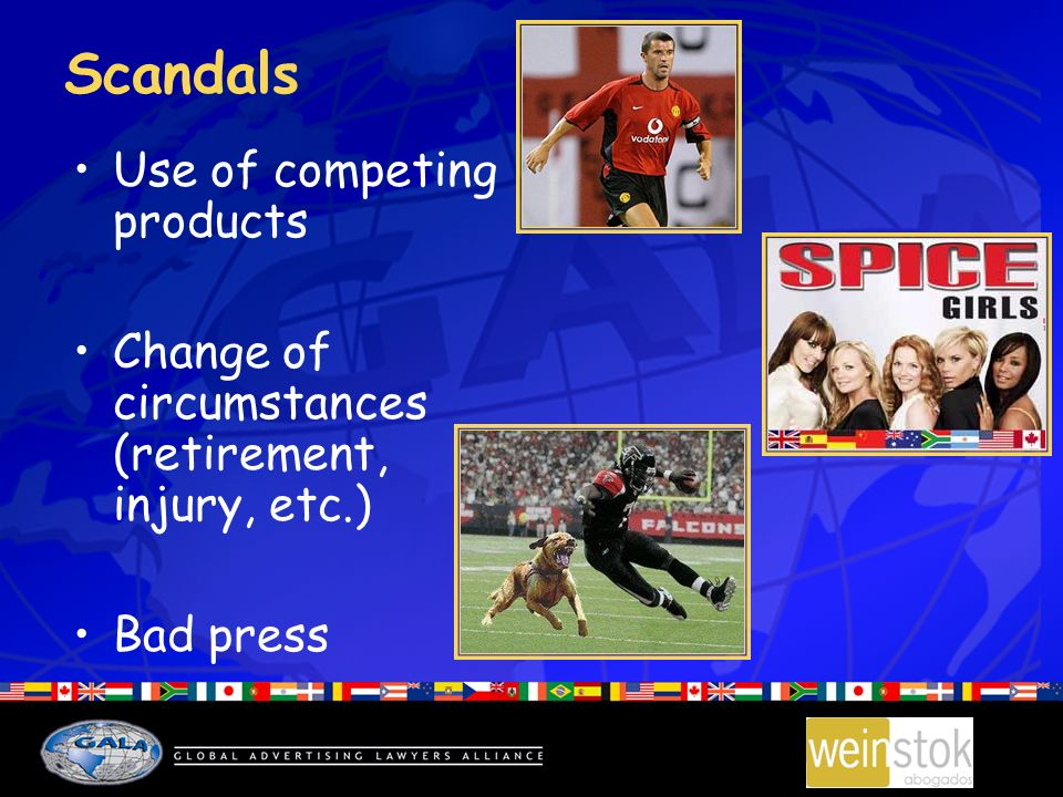 Scandals Use of competing products Change of circumstances (retirement, injury, etc.) Bad press