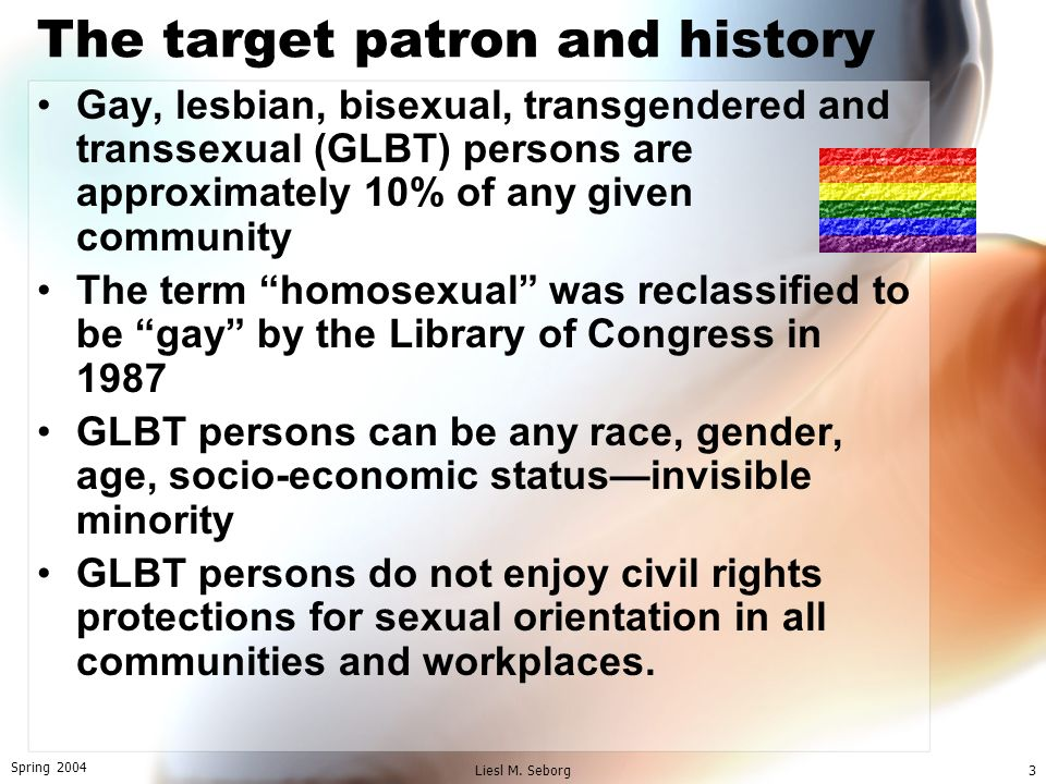 Spring 2004 Liesl M. Seborg3 The target patron and history Gay, lesbian, bisexual, transgendered and transsexual (GLBT) persons are approximately 10%