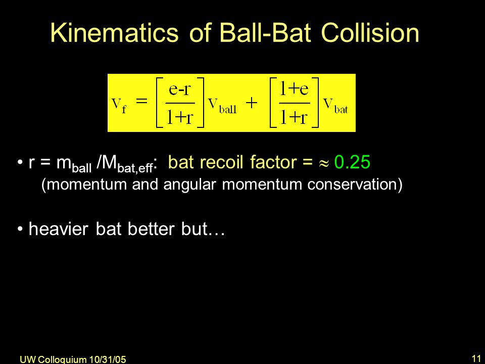 UW Colloquium 10/31/05 11 Kinematics of Ball-Bat Collision r = m ball /M bat,eff : bat recoil factor = 0.25 (momentum and angular momentum conservation) heavier bat better but…