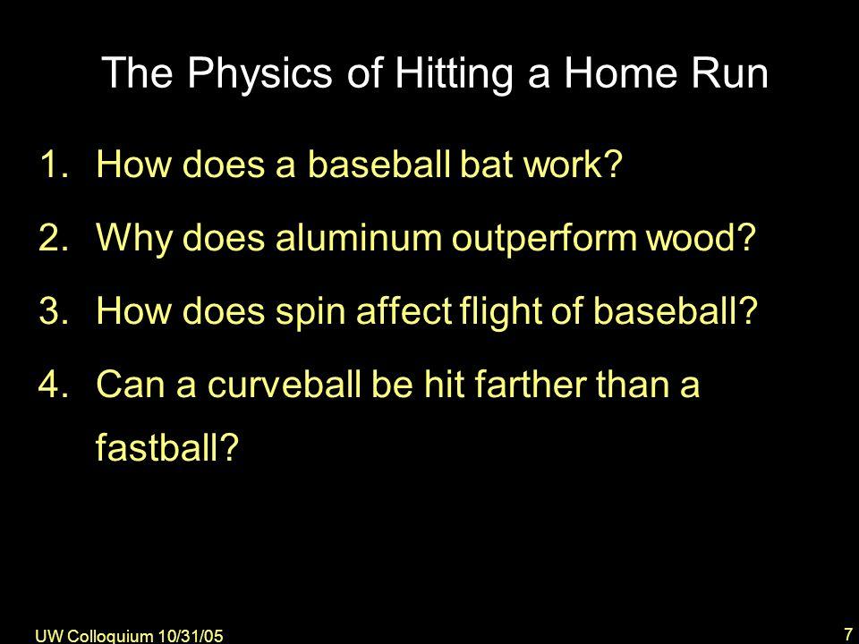 UW Colloquium 10/31/05 28 Some Typical Results Lift … --increases range --reduces optimum angle