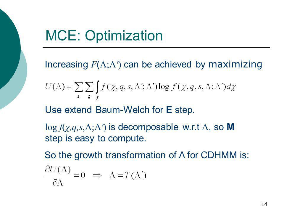 14 MCE: Optimization Increasing F ( Λ;Λ ) can be achieved by maximizing So the growth transformation of Λ for CDHMM is: Use extend Baum-Welch for E step.