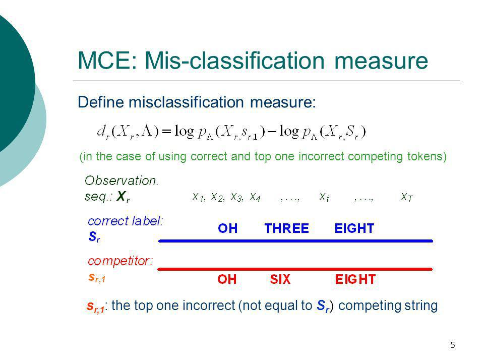 5 MCE: Mis-classification measure Define misclassification measure: s r,1 : the top one incorrect (not equal to S r ) competing string (in the case of using correct and top one incorrect competing tokens)