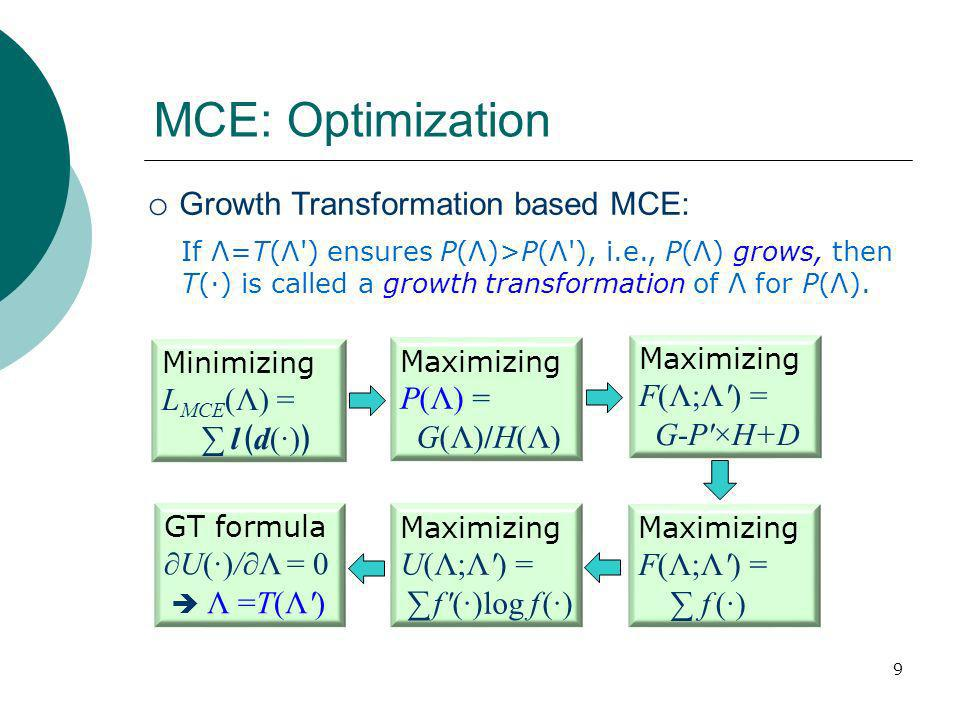 9 MCE: Optimization Minimizing L MCE (Λ) = ld() Maximizing P(Λ) = G(Λ)/H(Λ) Maximizing F(Λ;Λ) = G-P×H+D Maximizing F(Λ;Λ) = f () Maximizing U(Λ;Λ) = f