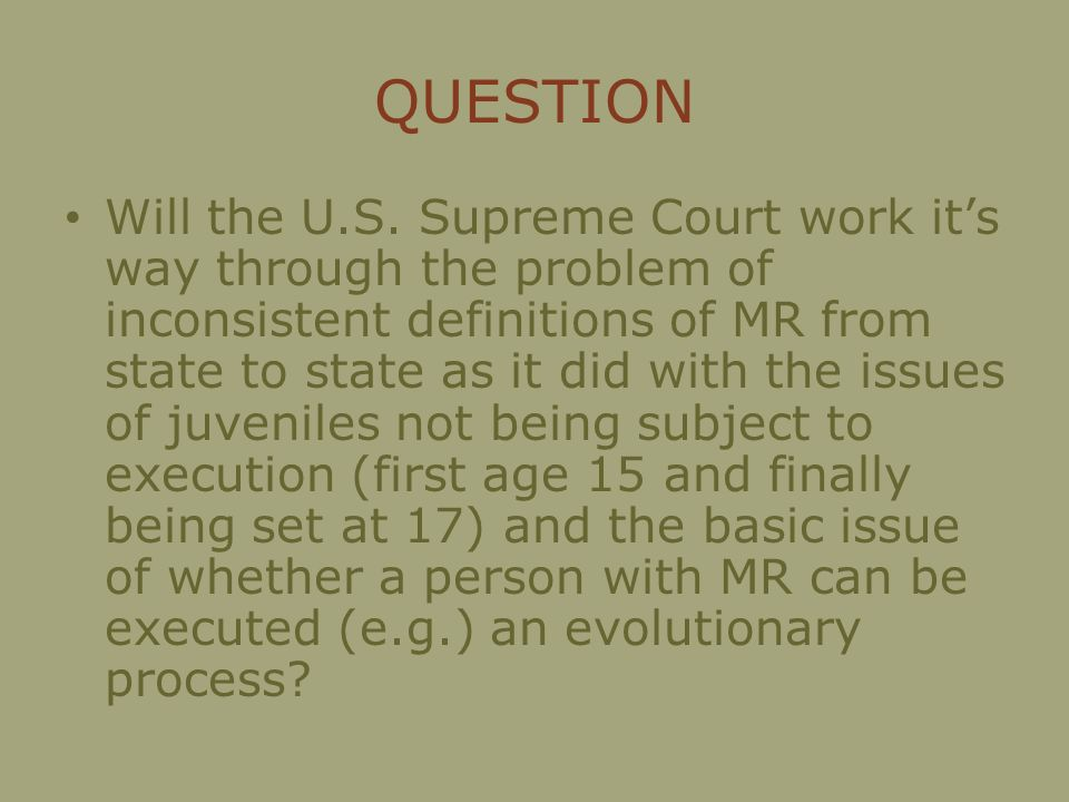 QUESTION Will the U.S.