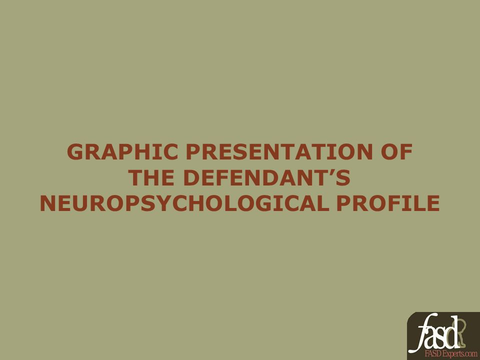GRAPHIC PRESENTATION OF THE DEFENDANTS NEUROPSYCHOLOGICAL PROFILE