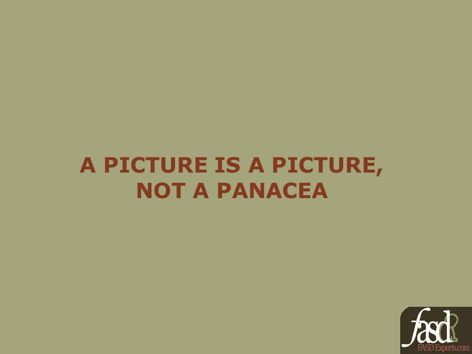 A PICTURE IS A PICTURE, NOT A PANACEA