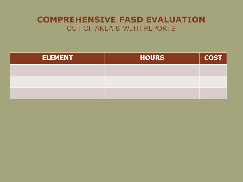COMPREHENSIVE FASD EVALUATION OUT OF AREA & WITH REPORTS ELEMENTHOURSCOST