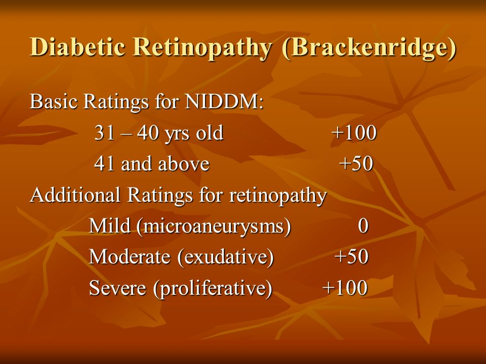 Diabetic Retinopathy (Brackenridge) Basic Ratings for NIDDM: 31 – 40 yrs old +100 31 – 40 yrs old +100 41 and above +50 41 and above +50 Additional Ra
