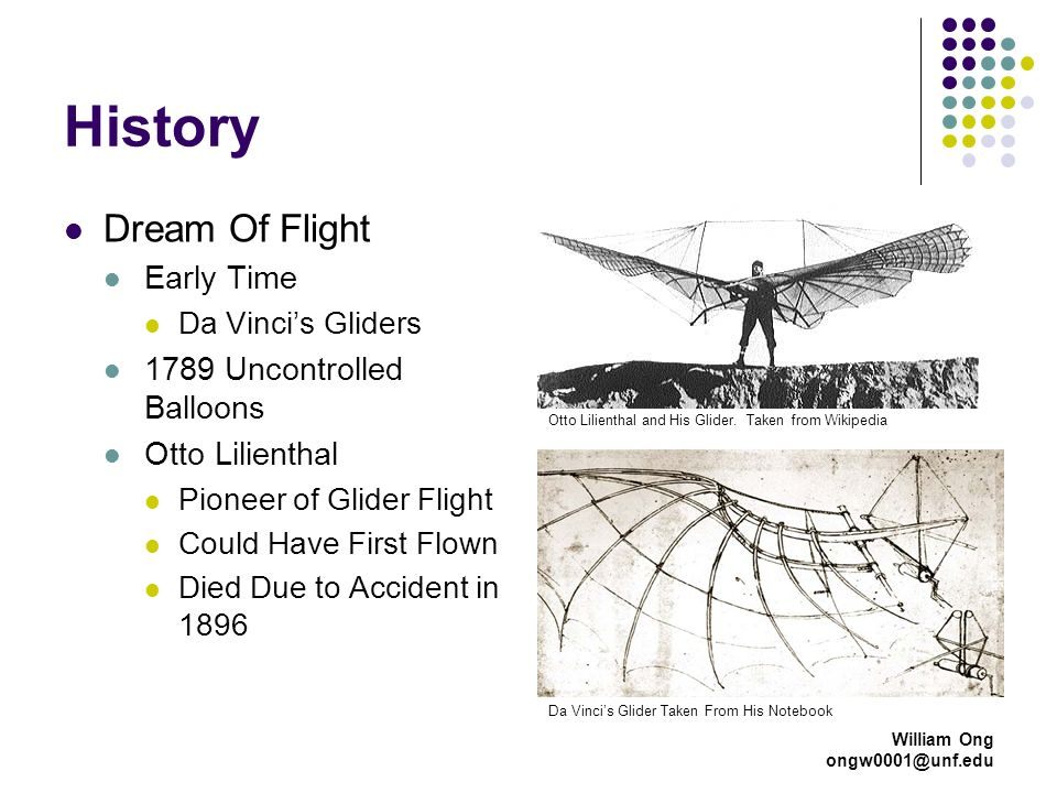 William Ong ongw0001@unf.edu History Dream Of Flight Early Time Da Vincis Gliders 1789 Uncontrolled Balloons Otto Lilienthal Pioneer of Glider Flight Could Have First Flown Died Due to Accident in 1896 Da Vincis Glider Taken From His Notebook Otto Lilienthal and His Glider.