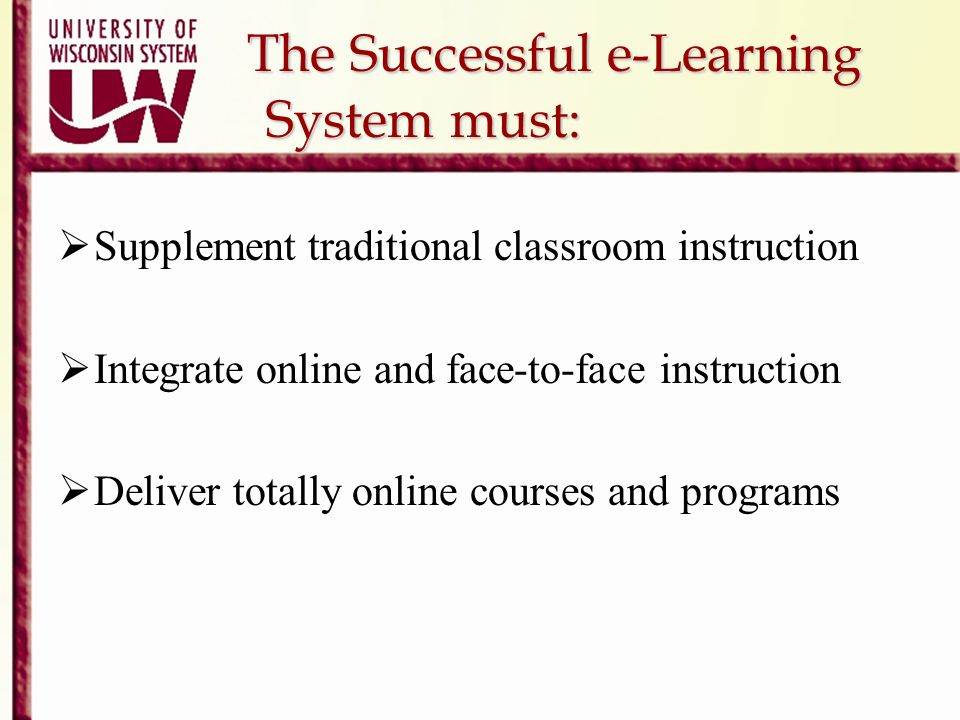 The Successful e-Learning System must: The Successful e-Learning System must: Supplement traditional classroom instruction Integrate online and face-t