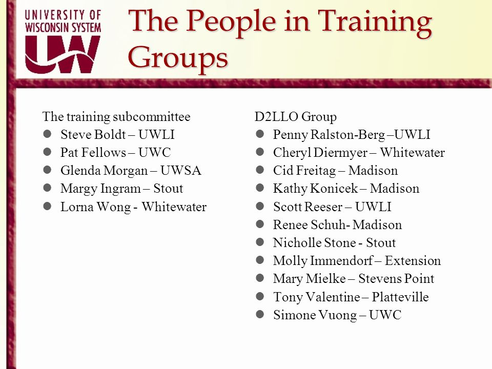The People in Training Groups The training subcommittee Steve Boldt – UWLI Pat Fellows – UWC Glenda Morgan – UWSA Margy Ingram – Stout Lorna Wong - Wh