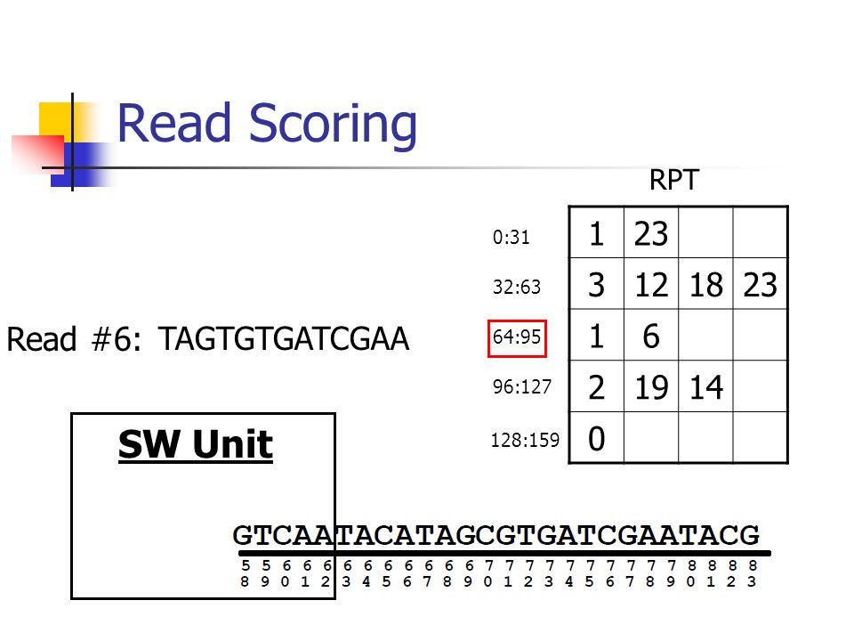 Read Scoring SW Unit TAGTGTGATCGAA :63 RPT 0:31 64:95 96: :159 Read #6: