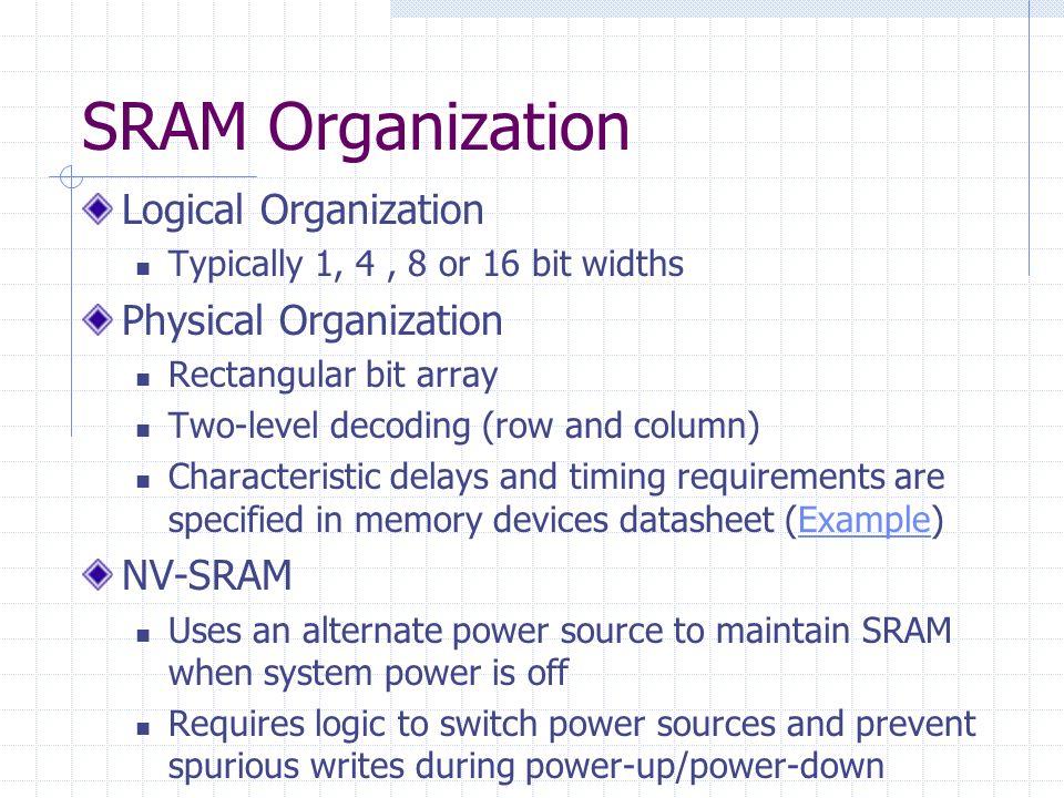SRAM Organization Logical Organization Typically 1, 4, 8 or 16 bit widths Physical Organization Rectangular bit array Two-level decoding (row and colu