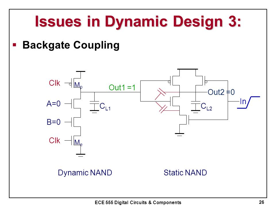 ECE 555 Digital Circuits & Components Issues in Dynamic Design 3: Backgate Coupling 26 C L1 Clk B=0 A=0 Out1 MpMp MeMe Out2 C L2 In Dynamic NANDStatic