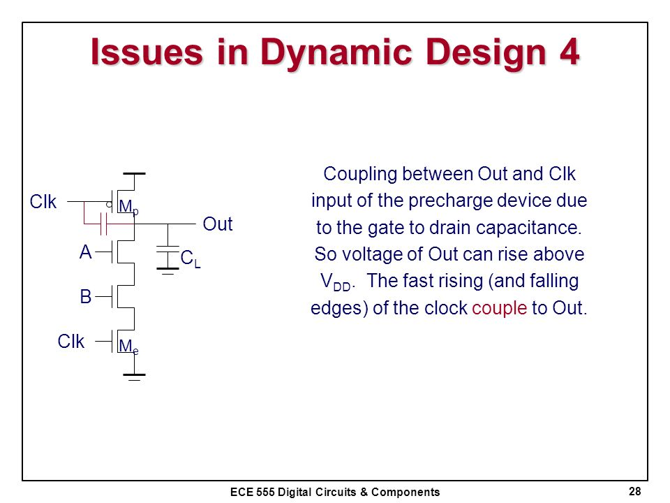 ECE 555 Digital Circuits & Components Issues in Dynamic Design 4 28 CLCL Clk B A Out MpMp MeMe Coupling between Out and Clk input of the precharge dev