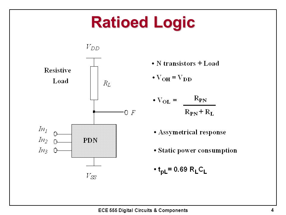 ECE 555 Digital Circuits & Components Ratioed Logic 4