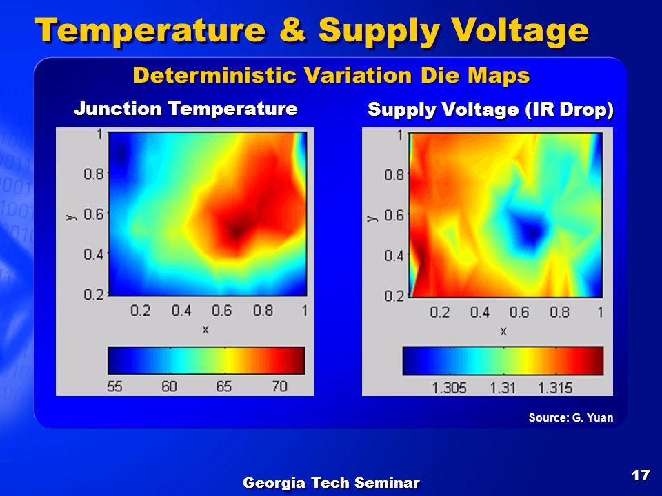 Georgia Tech Seminar 17 Temperature & Supply Voltage Junction Temperature Supply Voltage (IR Drop) Deterministic Variation Die Maps Source: G. Yuan