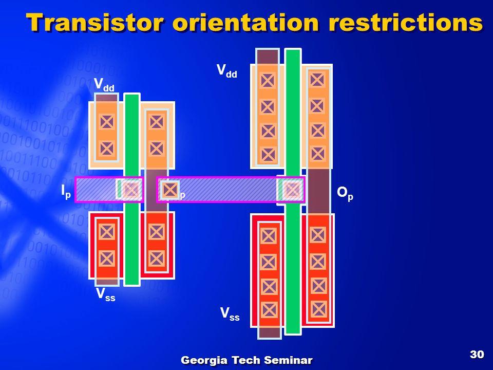 Georgia Tech Seminar 30 V ss V dd OpOp IpIp V ss V dd OpOp Transistor orientation restrictions