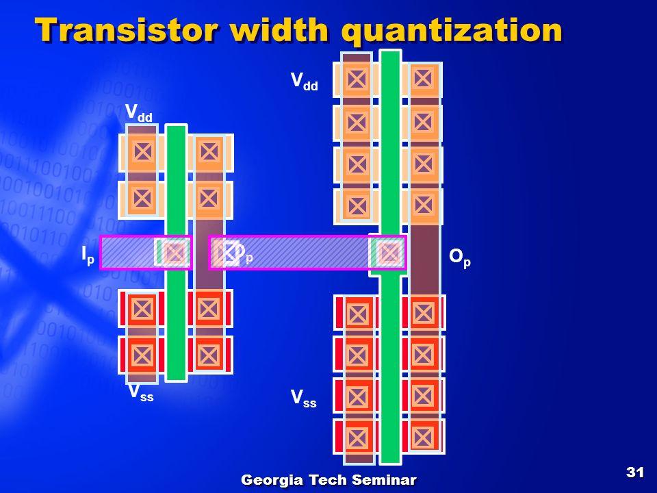 Georgia Tech Seminar 31 OpOp V ss V dd IpIp V ss V dd OpOp Transistor width quantization