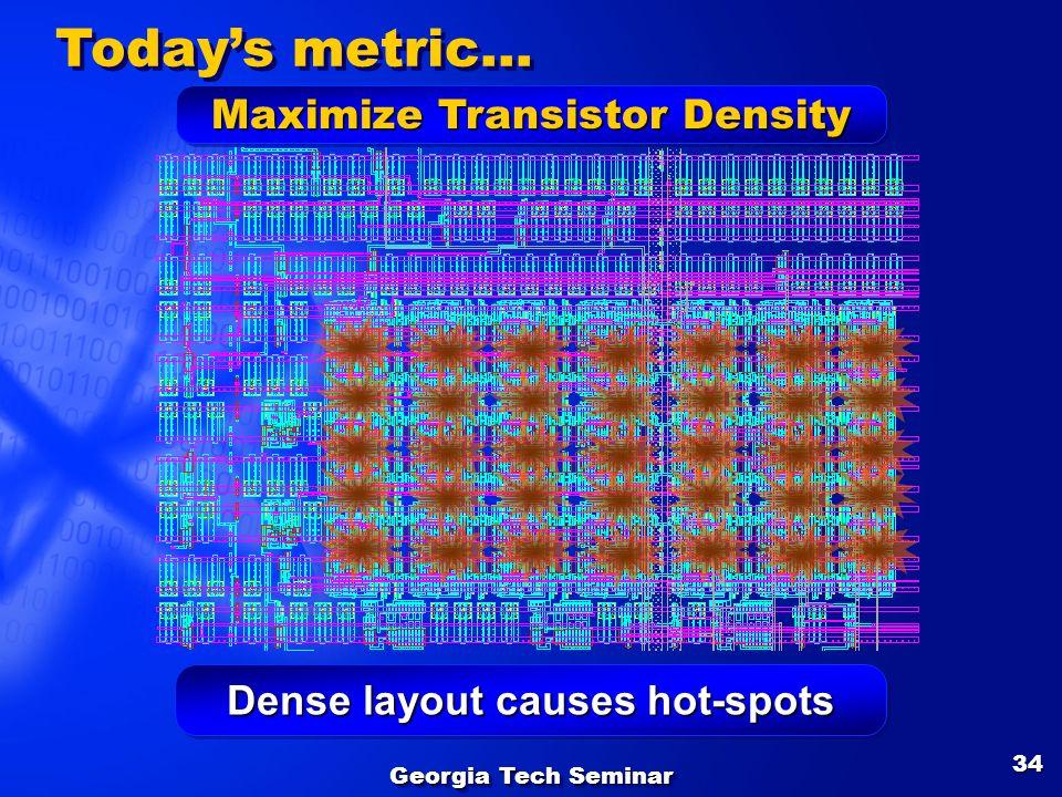 Georgia Tech Seminar 34 Dense layout causes hot-spots Todays metric… Maximize Transistor Density
