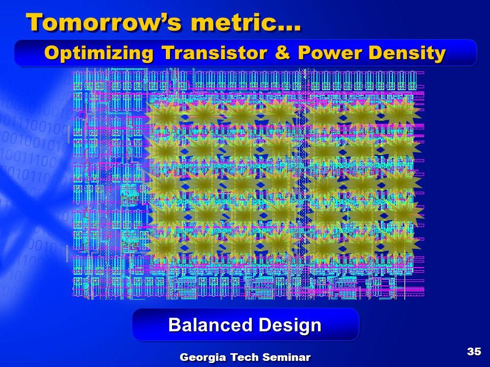 Georgia Tech Seminar 35 Balanced Design Tomorrows metric… Optimizing Transistor & Power Density