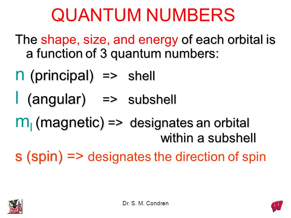 Dr. S. M. Condren The of each orbital is a function of 3 quantum numbers: The shape, size, and energy of each orbital is a function of 3 quantum numbe