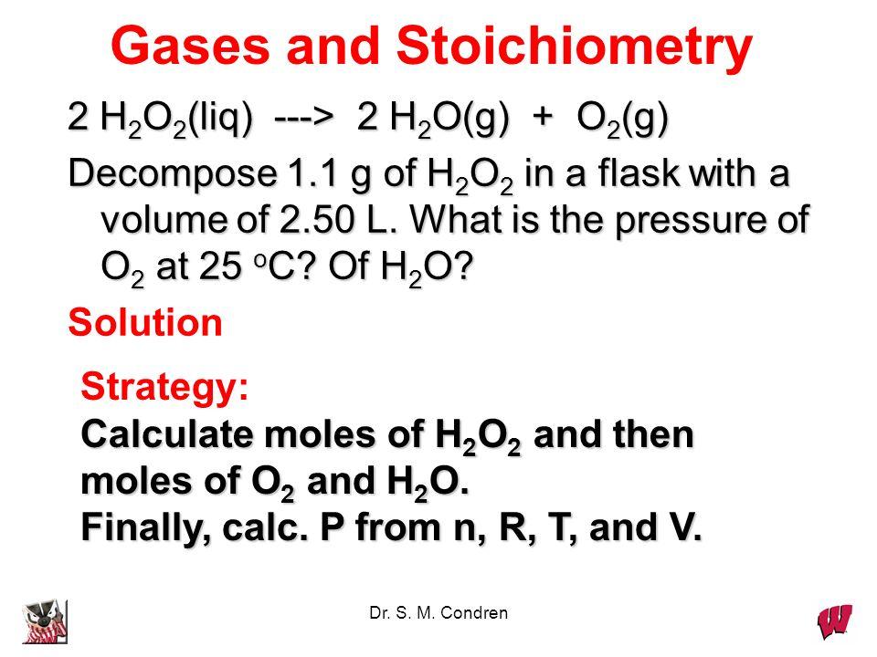Dr. S. M. Condren Ideal Gas Constant R = 0.082057 L*atm/mol*K R has other values for other sets of units. R = 82.057 mL*atm/mol*K = 8.314 J/mol*K = 1.