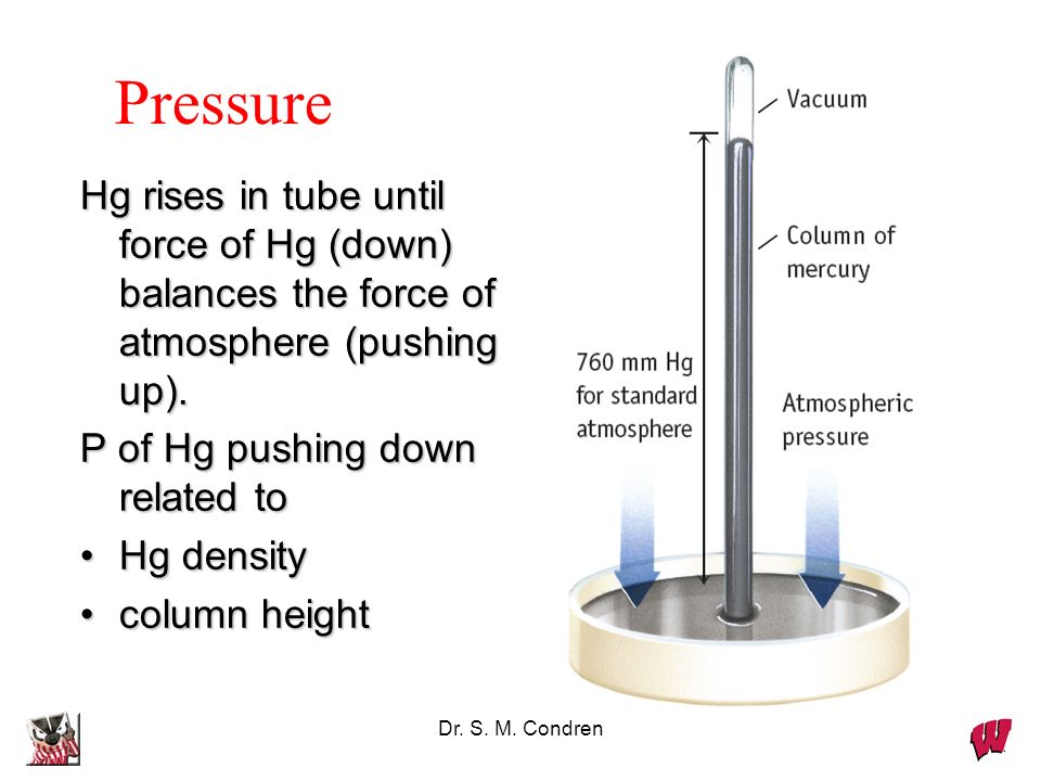 Dr. S. M. Condren Pressure Pressure of air is measured with a BAROMETER (developed by Torricelli in 1643)