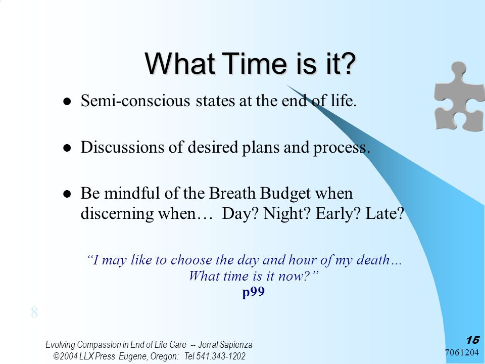 7061204 Evolving Compassion in End of Life Care -- Jerral Sapienza ©2004 LLX Press Eugene, Oregon: Tel 541.343-1202 15 What Time is it? Semi-conscious
